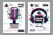Music festival vector banner. Posters set with microphone and headphones. Online party background, electronic style. Glitch trendy illustration. Streaming banner.