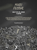 Music festival vector poster template. Live performance, show, summer festival information brochure with text space. Musical instruments chalk thin line illustration on blackboard background