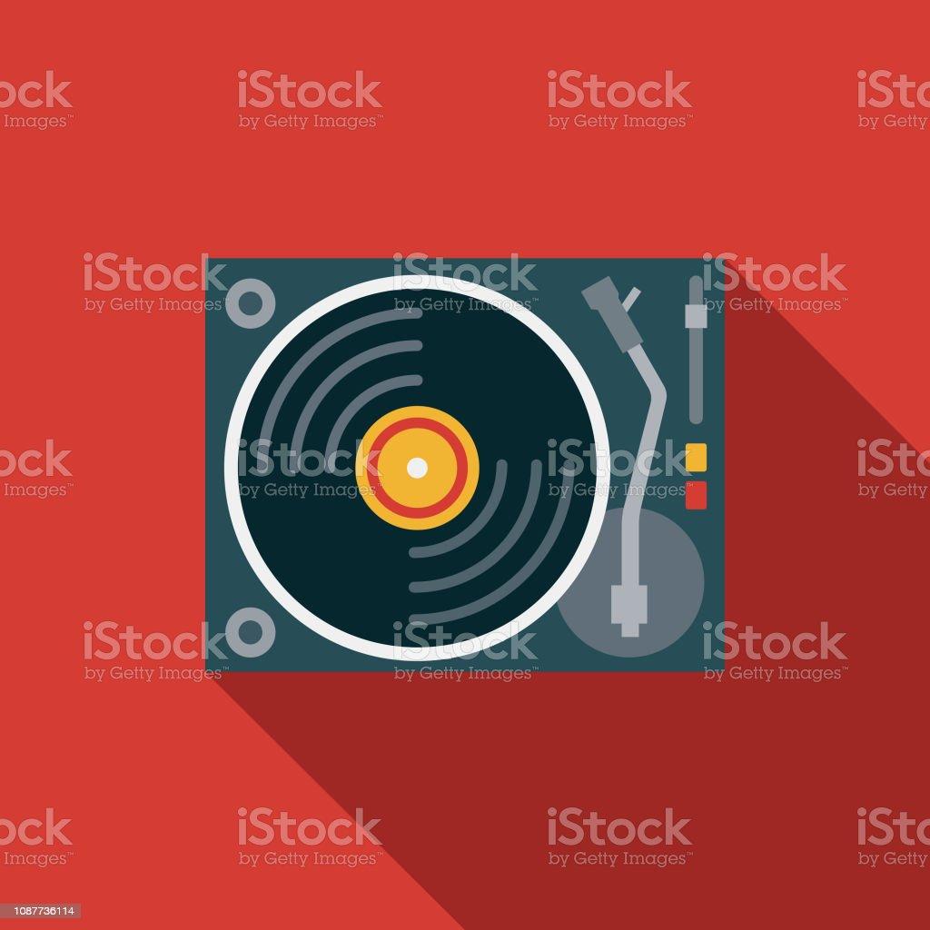 Flache Bauform Prom Musiksymbol – Vektorgrafik