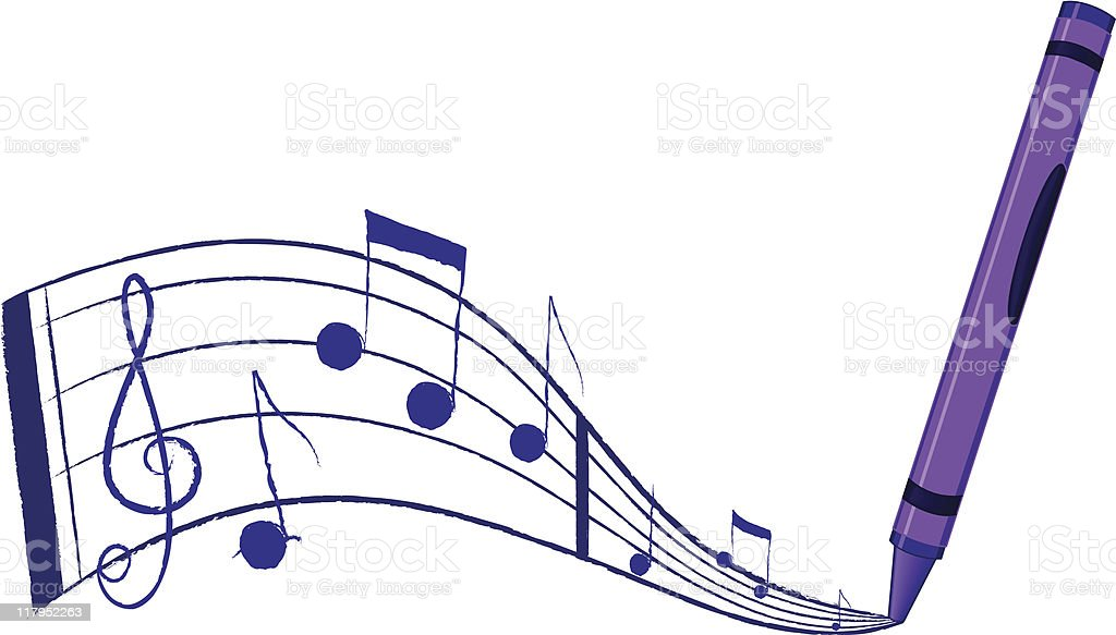 Music flowing from a crayon royalty-free music flowing from a crayon stock vector art & more images of art