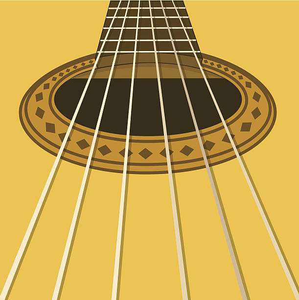 music flyer or background with acoustic guitar - close up stock illustrations, clip art, cartoons, & icons