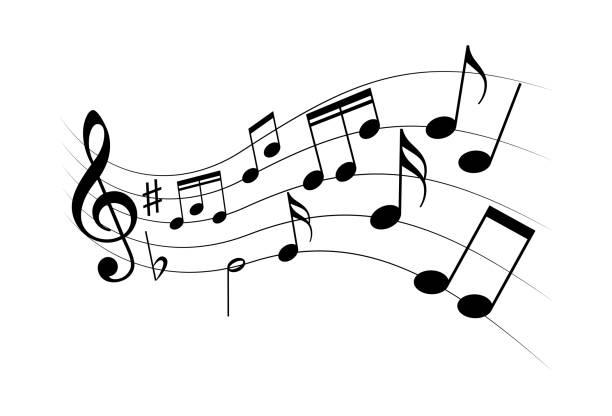 illustrazioni stock, clip art, cartoni animati e icone di tendenza di music flying - nota