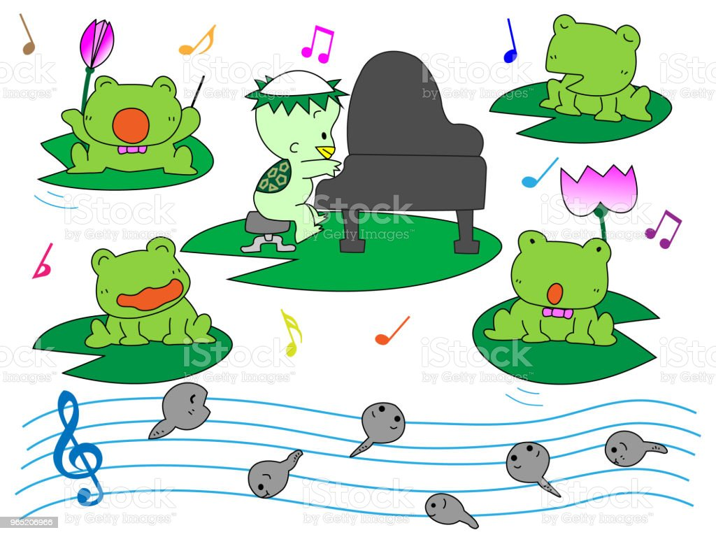music frog royalty-free music frog stock illustration - download image now