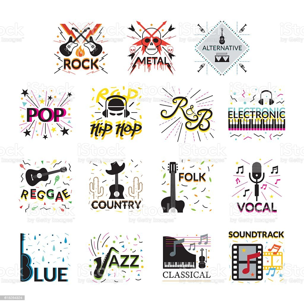 music genres A musical genre is how people describe different styles of musicsome of the most common music genres are: blues country funk gospel hip hop jazz pop rock rhythm and blues soul music.