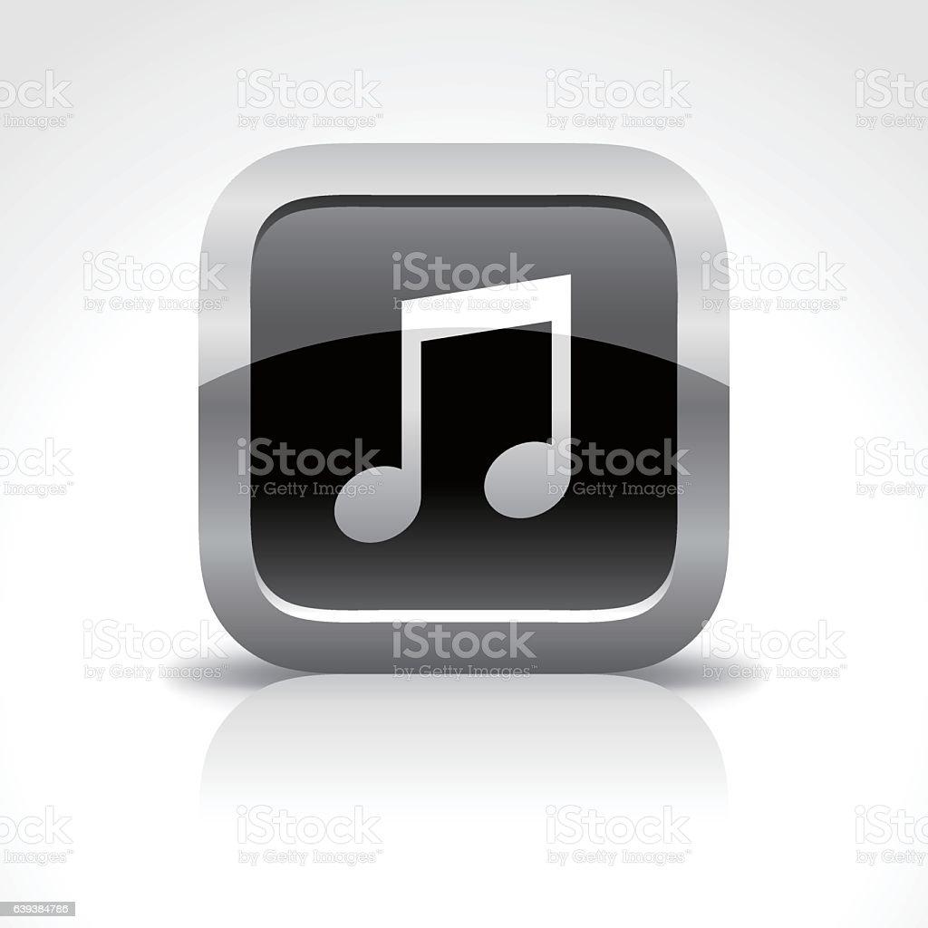 Music Glossy Button Icon vector art illustration