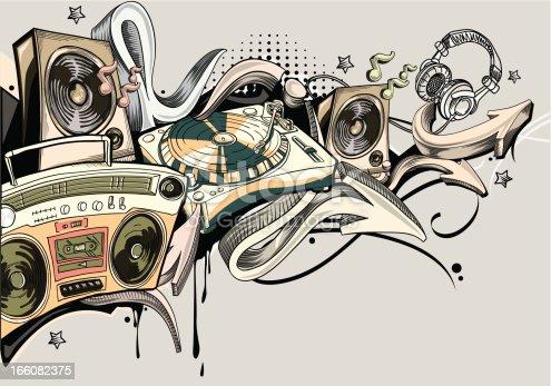 Loudspeakers,  tape recorder, turntadle & graffiti arrows, trendy music theme; vector artwork