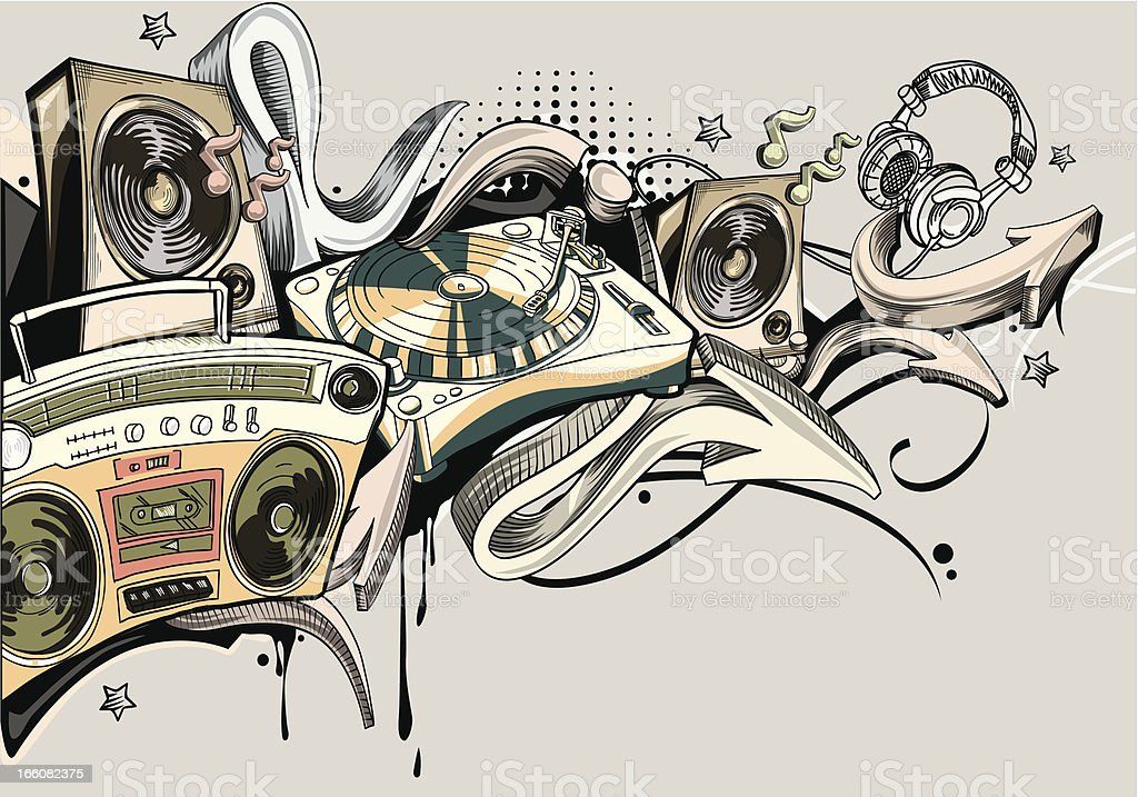 Music graffiti vector art illustration