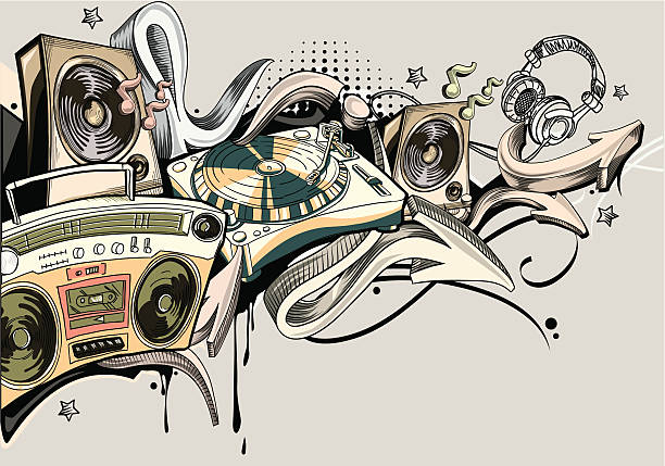 illustrations, cliparts, dessins animés et icônes de musique de graffiti - hip hop
