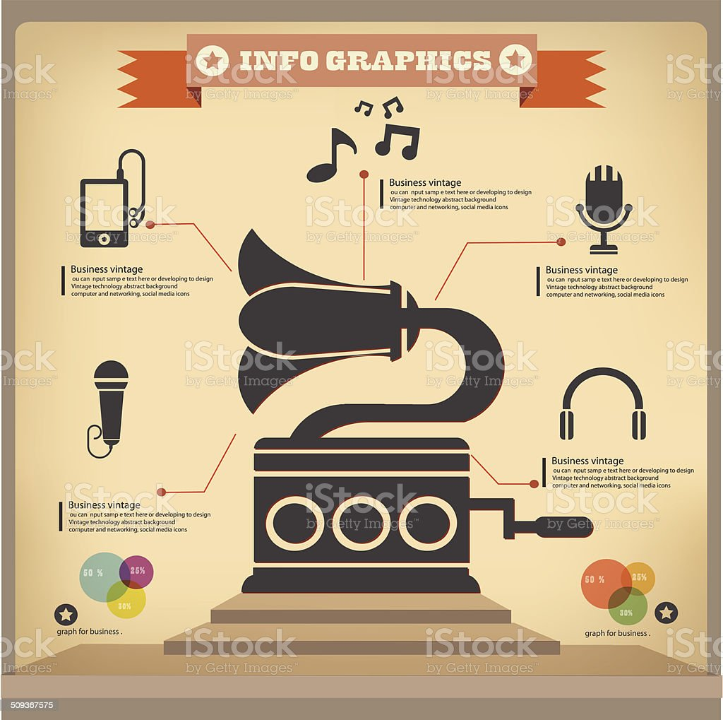 Music graphics design,vintage style,vector vector art illustration