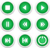 Music green buttons set