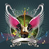 Illustration of beautiful Music guitar shield Background, all elements is individual objects, used simple gradient colors, No transparencies. Hi res jpeg included. User can edit easily, Please view my profile.