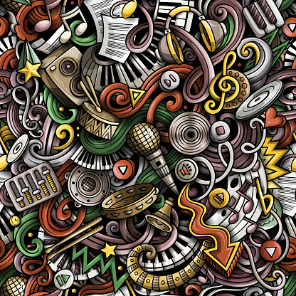 Music hand drawn doodles seamless pattern. Musical instruments background. Cartoon fabric print design. Colorful vector art illustration