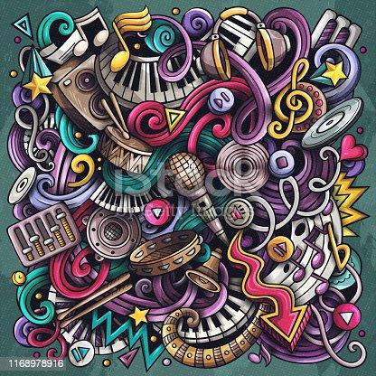 Music hand drawn vector doodles illustration. Musical poster design.