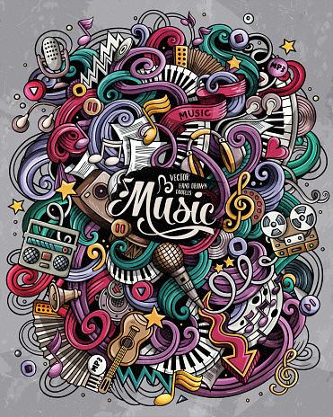 Music hand drawn vector doodles illustration. Musical poster design