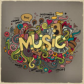Music hand lettering and doodles elements background.
