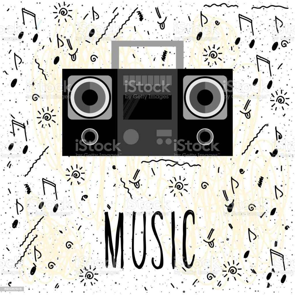 Music. Handwritten lettering and handmade notes cover vector art illustration