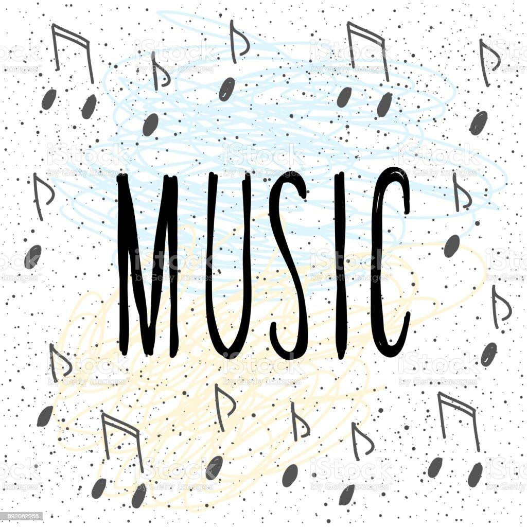 音楽手書きレタリングや手作りノート カバー 8分音符のベクターアート