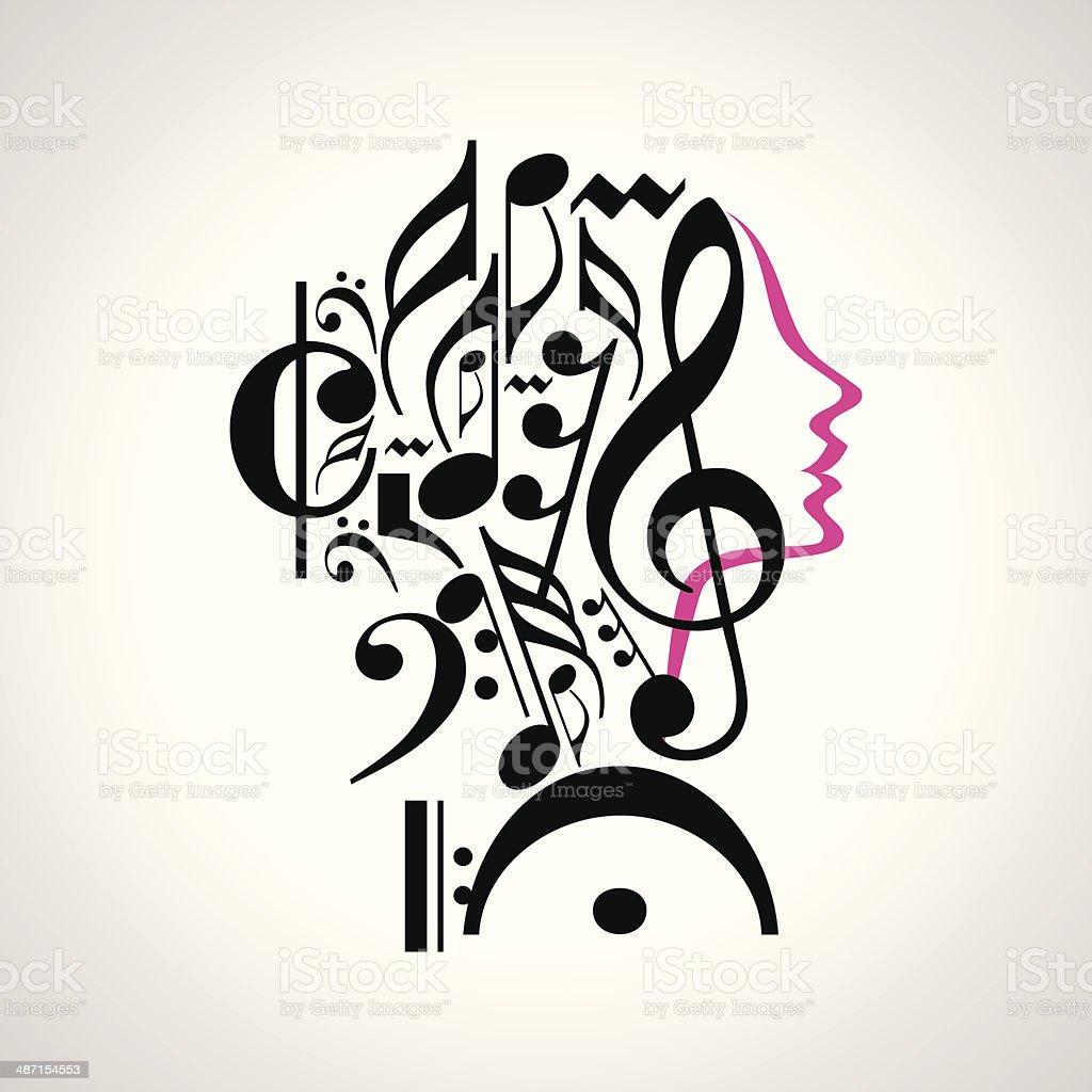 music head vector art illustration