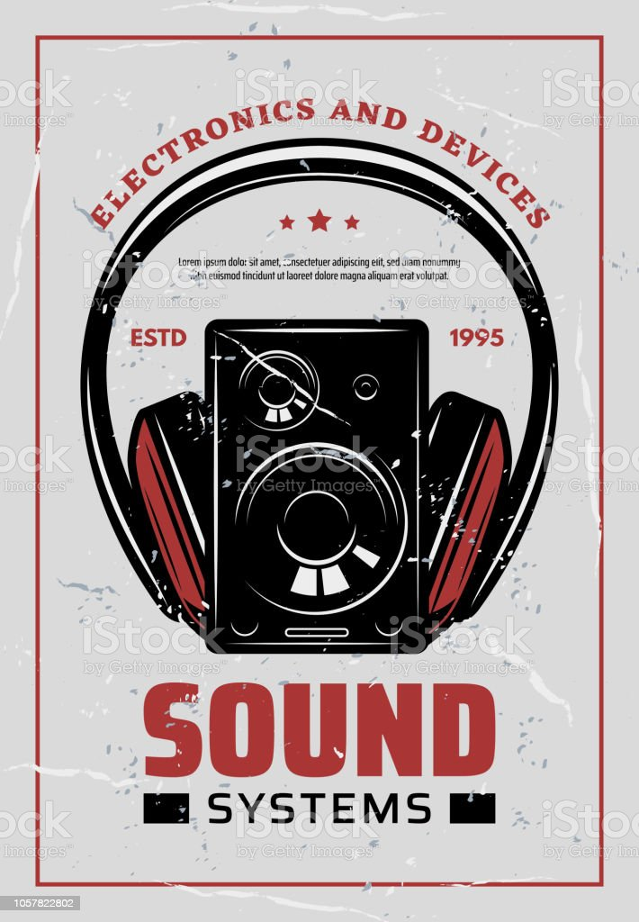 Music Headphones And Hifi Systems Retro Poster Stock Illustration