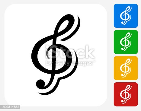 Music Icon. This 100% royalty free vector illustration features the main icon pictured in black inside a white square. The alternative color options in blue, green, yellow and red are on the right of the icon and are arranged in a vertical column.