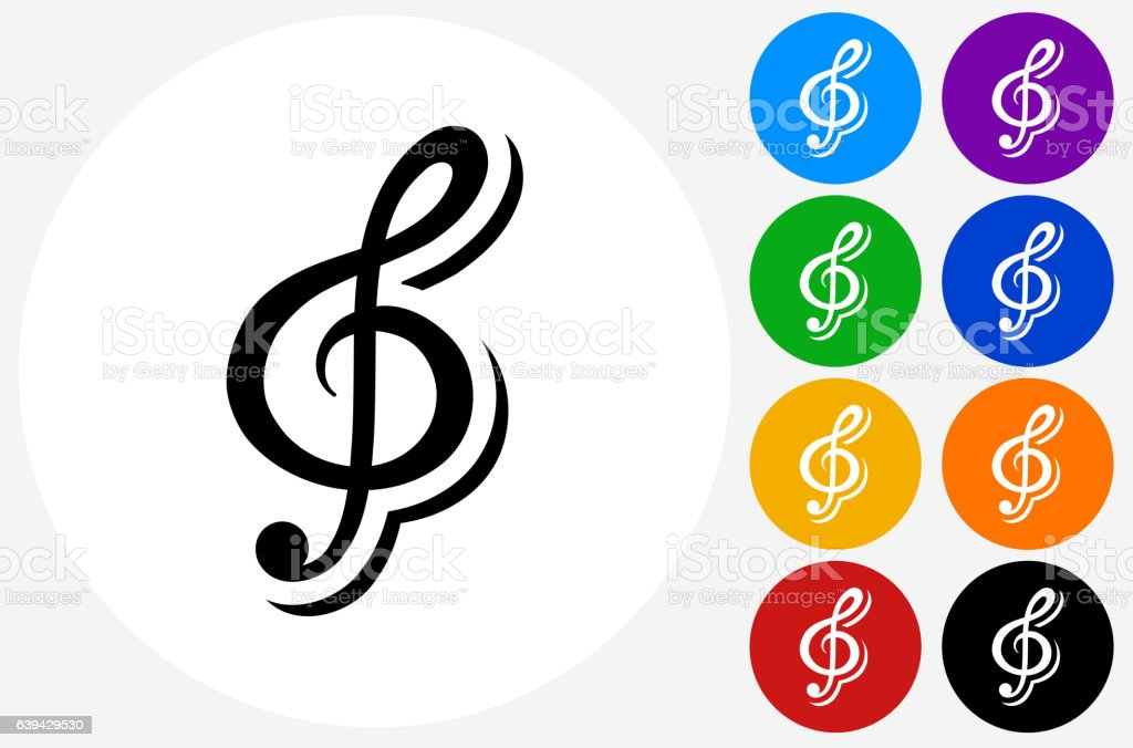 Music Icon on Flat Color Circle Buttons vector art illustration