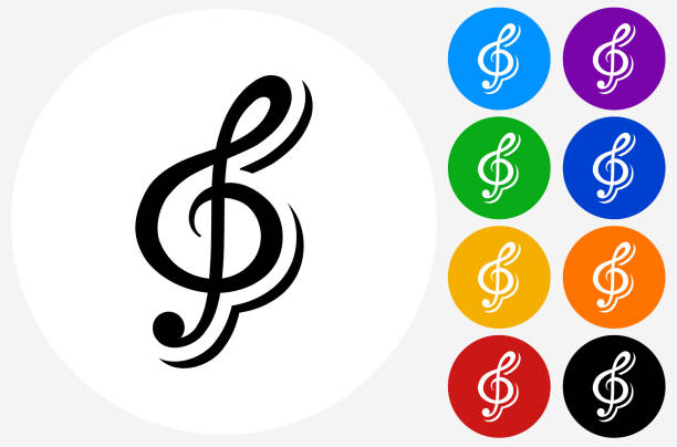 music icon on flat color circle buttons - klucz wiolinowy stock illustrations