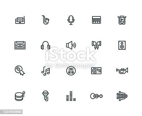 Music Icon Set - Thick Line Series