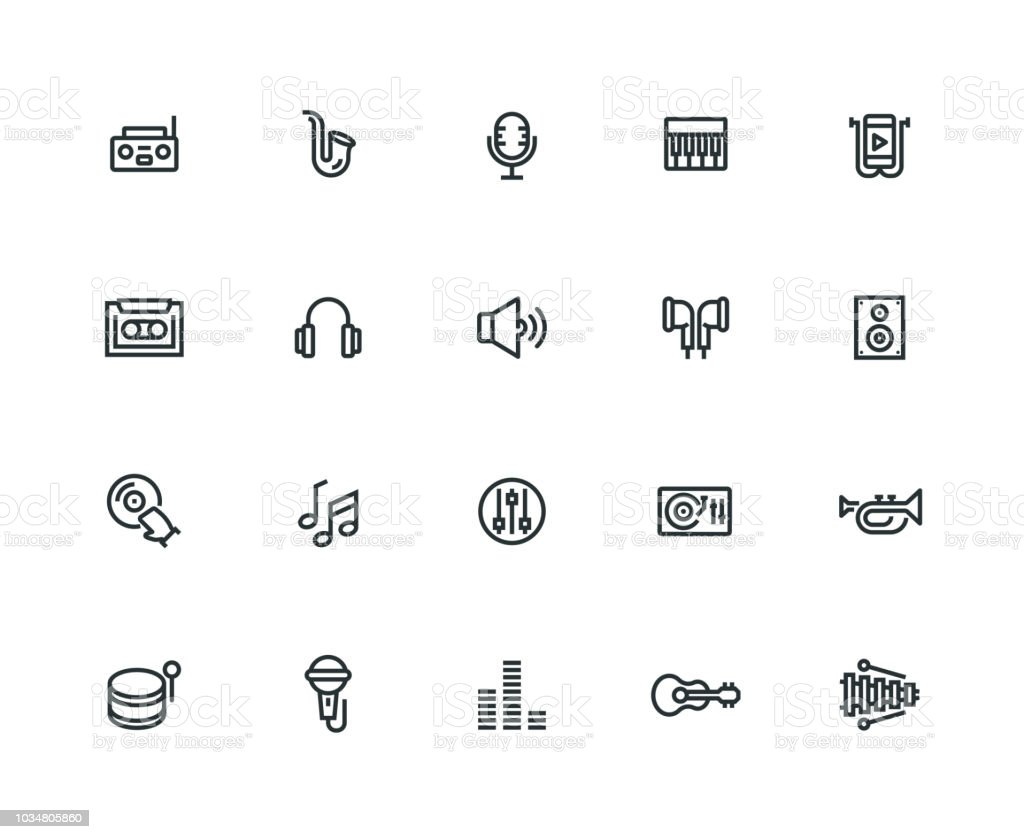 Music Icon Set - Thick Line Series vector art illustration
