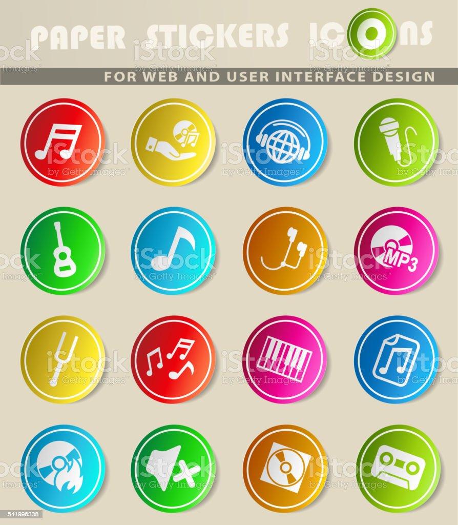 Conjunto de iconos de la música - ilustración de arte vectorial