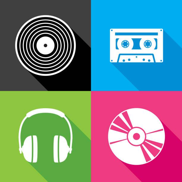 ilustrações, clipart, desenhos animados e ícones de conjunto de ícones de música - cd
