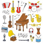 Music icon set vector illustrations.