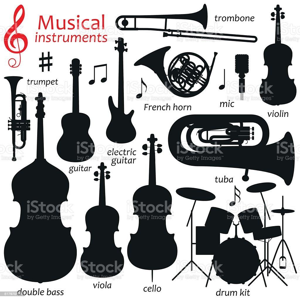 Zestaw ikon muzyki. Wektor sylwetka Ilustracja - Grafika wektorowa royalty-free (Bez ludzi)