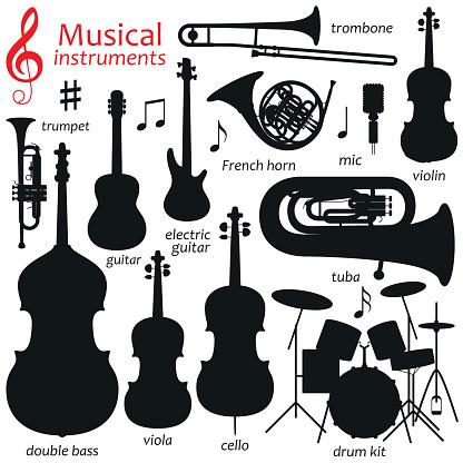 Music icon set.  Vector silhouette illustration