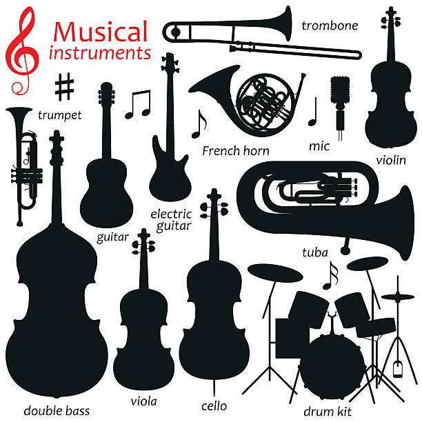 bildbanksillustrationer, clip art samt tecknat material och ikoner med music icon set.  vector silhouette illustration - violin