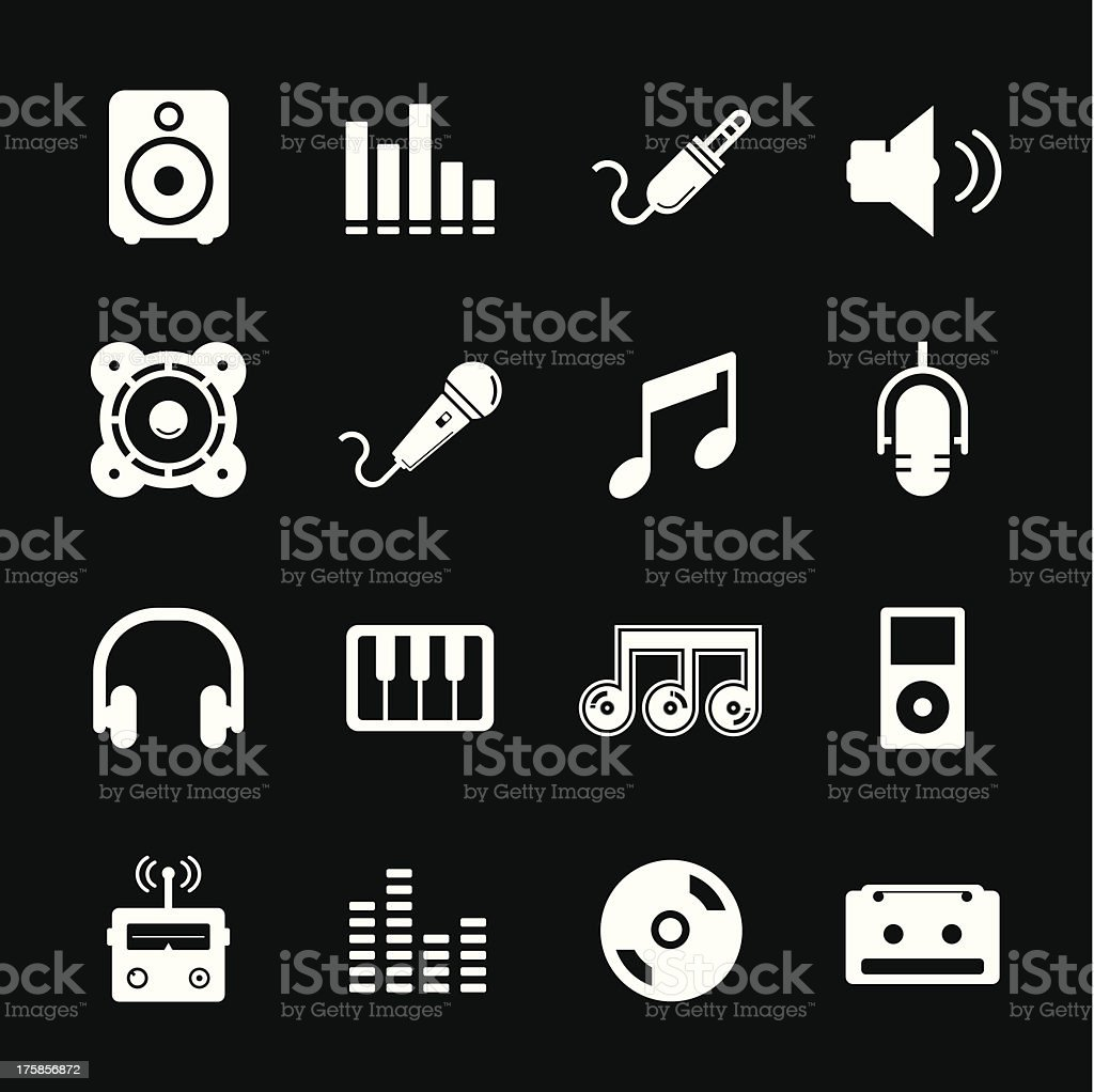 Music Icon - White royalty-free music icon white stock vector art & more images of audio equipment