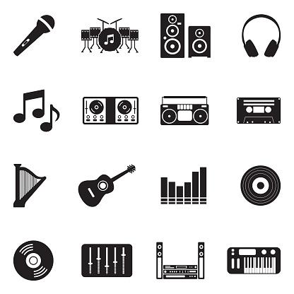 Music Icons. Black Flat Design. Vector Illustration.