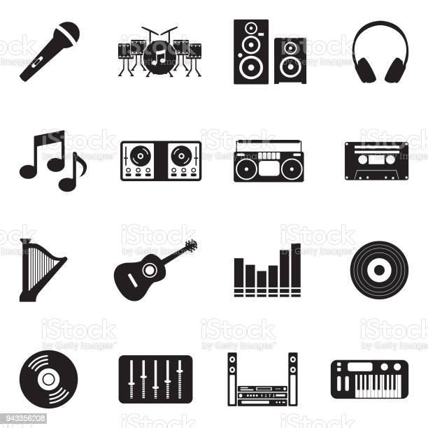 Music icons black flat design vector illustration vector id943356208?b=1&k=6&m=943356208&s=612x612&h=xkbxdvjvmiljx1l2i ilzspofk e0nvnhfm1ckuctc0=