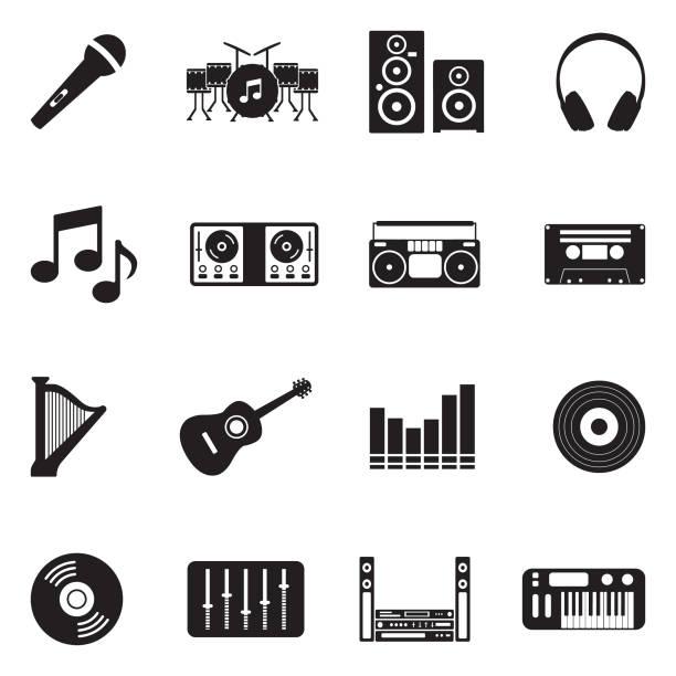 ikony muzyki. czarny płaski design. ilustracja wektorowa. - muzyka stock illustrations