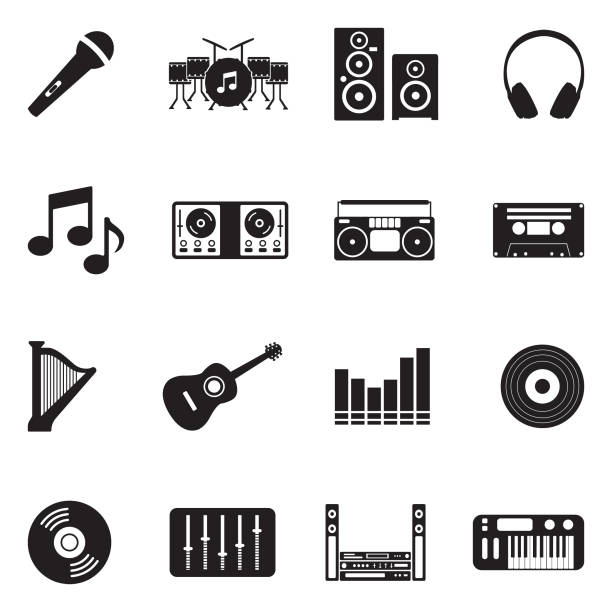 Music Icons. Black Flat Design. Vector Illustration. Tape, Fun, Art, Music, Sound, Loud. stereo stock illustrations