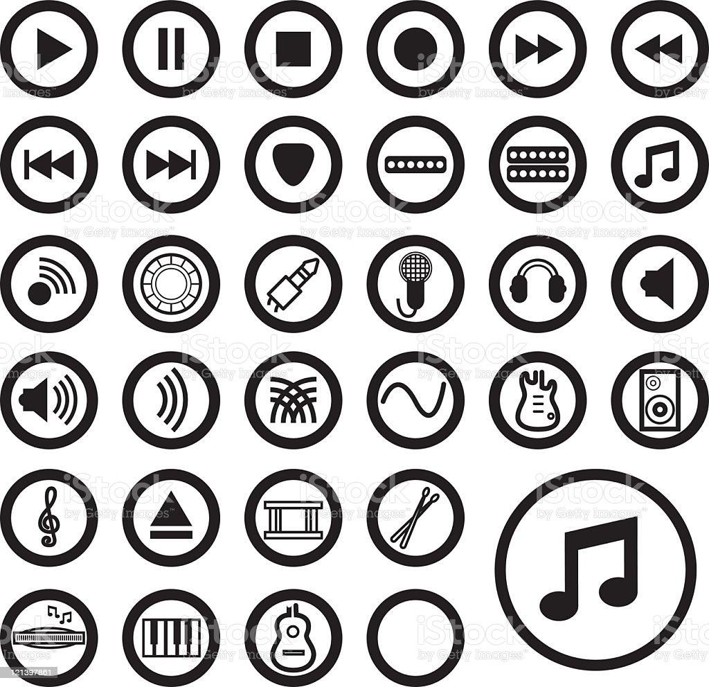 Musique d'icônes-Noir - Illustration vectorielle