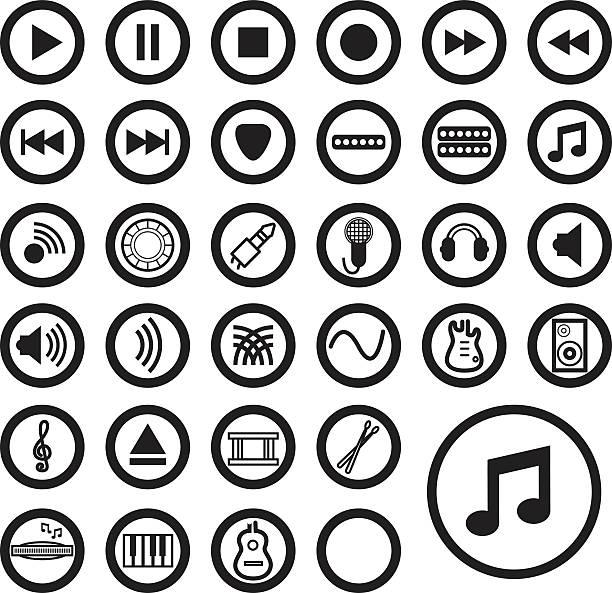 Musik-Icons-Schwarz – Vektorgrafik