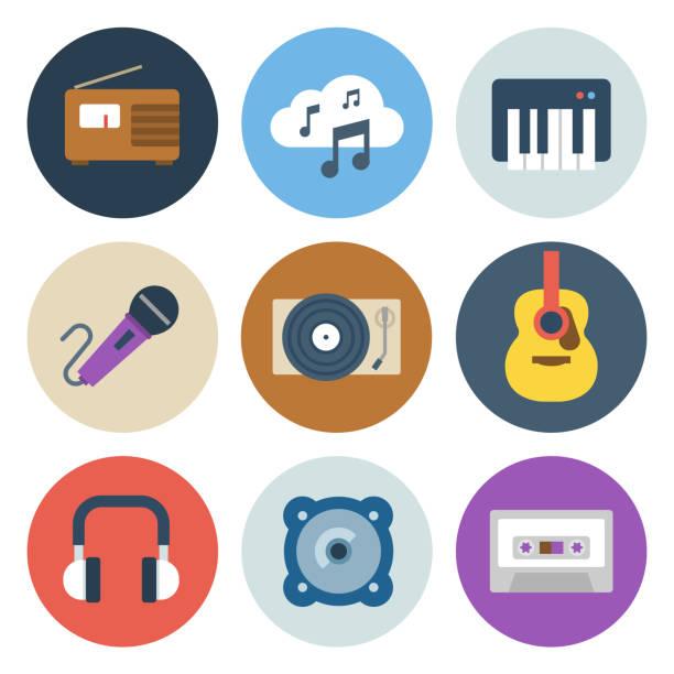 Music Icons  — Circle Series vector art illustration
