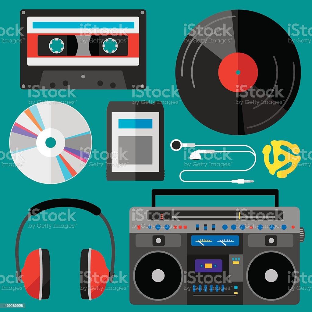 Music Icons Flat vector art illustration