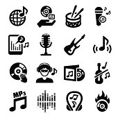 Music icons in black and white