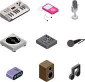 Isometric music icons.