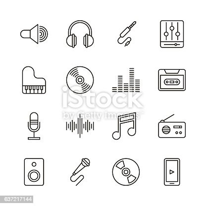 Music icons - Line Series Vector EPS File.