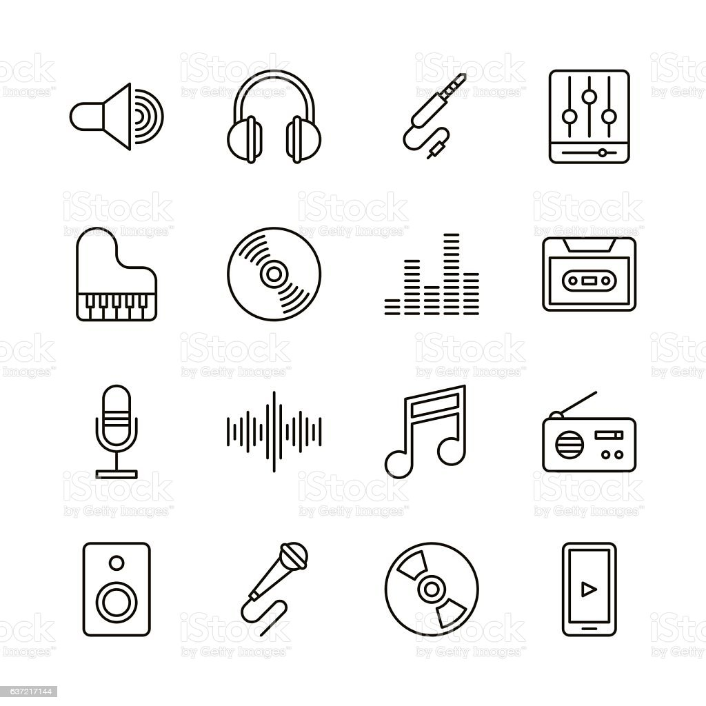 Music icons - Line Series vector art illustration
