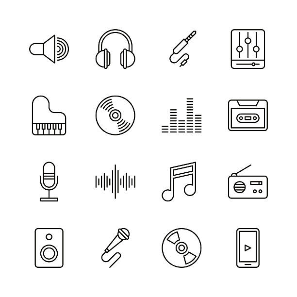 music icons - line series - music icons stock illustrations, clip art, cartoons, & icons