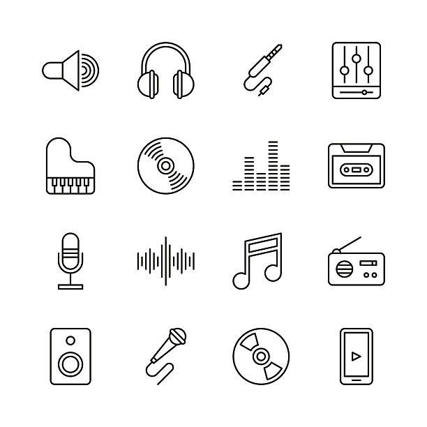 illustrations, cliparts, dessins animés et icônes de music icons - line series - icônes musique