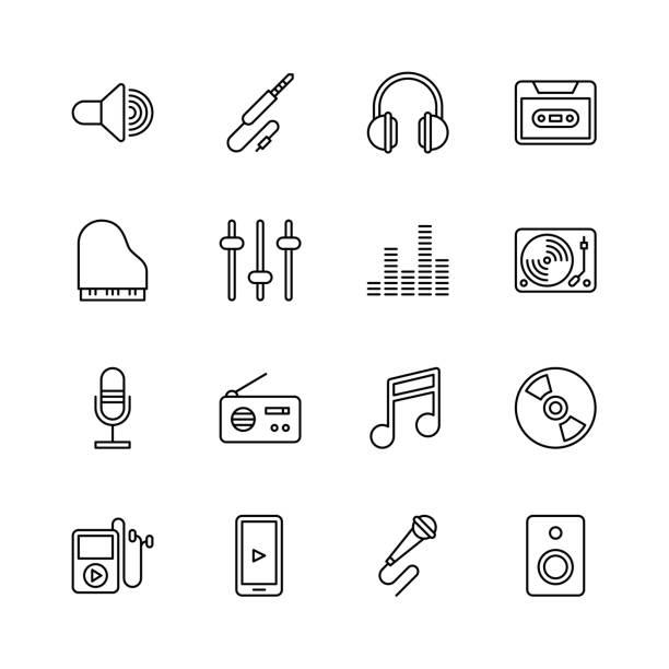 illustrations, cliparts, dessins animés et icônes de icônes de la musique - ligne - icônes musique